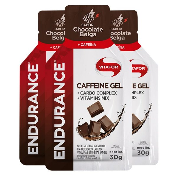 Kit 3 Endurance Caffeine Gel Vitafor Caixa 12 sachês Chocolate Belga