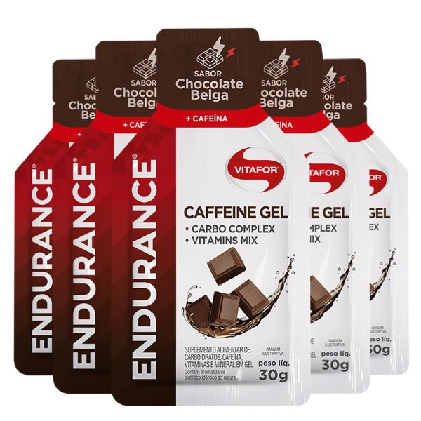Kit 5 Endurance Caffeine Gel Vitafor Caixa 12 sachês Chocolate Belga