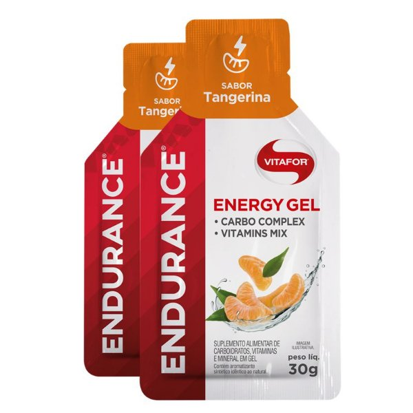 Kit 2 Endurance Energy Gel Vitafor Caixa 12 sachês Tangerina