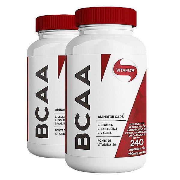 Kit 2 BCAA Aminofor com B6 Vitafor 240 cápsulas