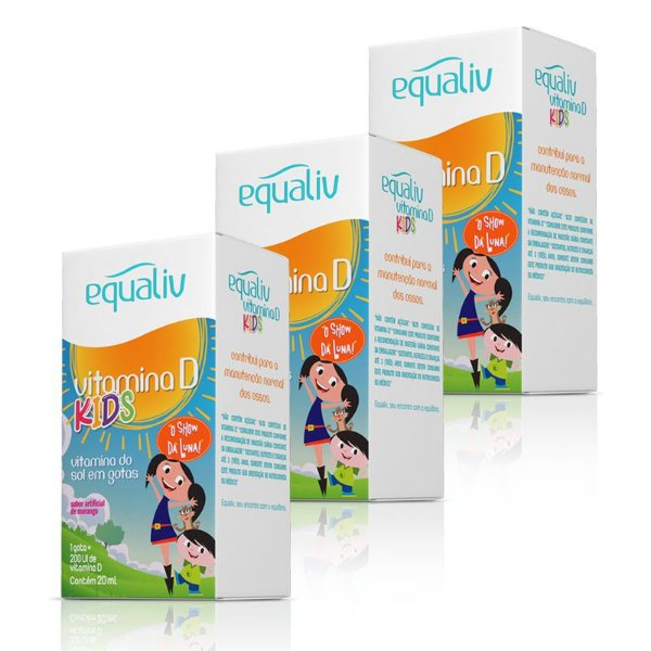 Kit 3 Vitamina D 200ui Kids Equaliv 20ml em Gotas
