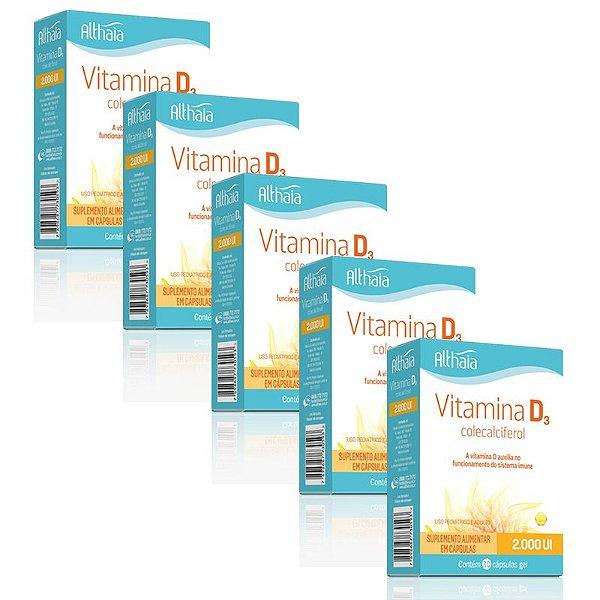 Kit 5 Vitamina D3 Colecalciferol 2000ui Althaia 30 cápsulas