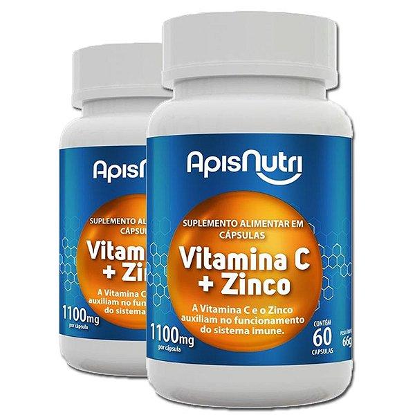 Kit 2 Vitamina C+Zinco Apisnutri 1100mg 60 Cápsulas