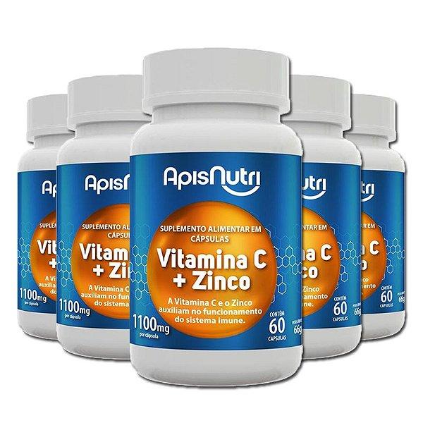 Kit 5 Vitamina C+Zinco Apisnutri 1100mg 60 Cápsulas