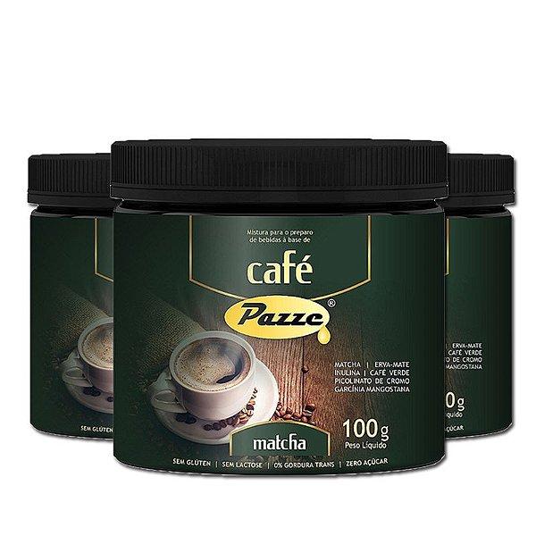 Kit 3 Café Instântaneo Café Matcha Pazze 100g