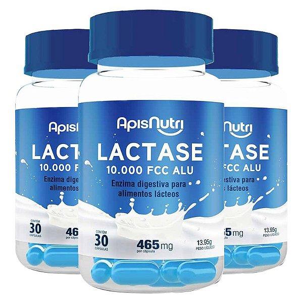 Kit 3 Lactase 10.000 FCC ALU Enzima Digestiva Apisnutri 30 cápsulas