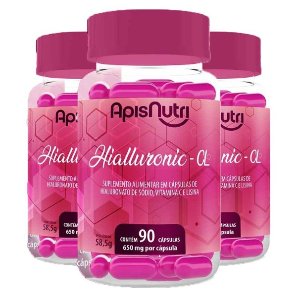 Kit 3 Hialluronic – CL 650mg Apisnutri 90 cápsulas