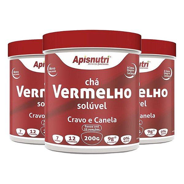 Kit 3 Chá Vermelho Solúvel Apisnutri 200g Cravo e Canela