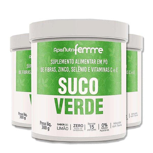 Kit 3 Suco Verde Solúvel Apisnutri 300g Adoçado com Stévia