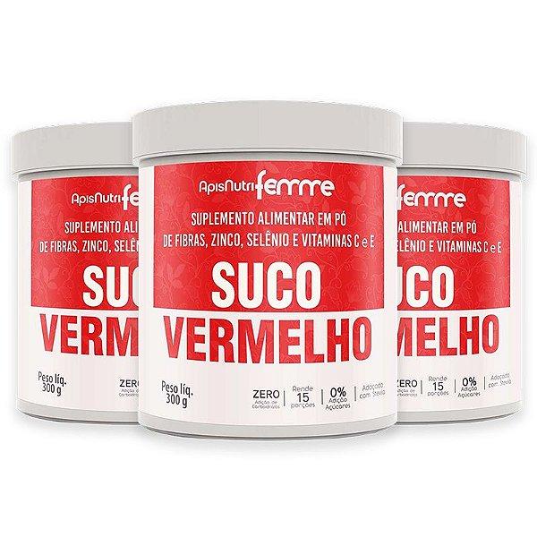 Kit 3 Suco Vermelho Solúvel Apisnutri 300g Adoçado com Stévia