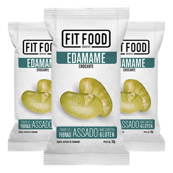 Kit 3 Snack Edamame Levemente Salgado FIT FOOD 30g