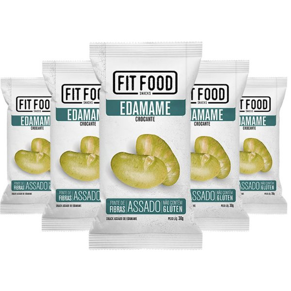 Kit 5 Snack Edamame Levemente Salgado FIT FOOD 30g