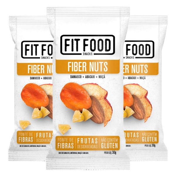 Kit 3 Snack Fiber Nuts FIT FOOD 30g