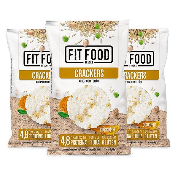 Kit 3 Cracker de Arroz com Feijão Fit Food 40g Curcuma