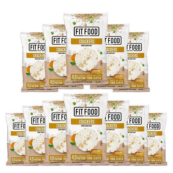 Kit 12 Cracker de Arroz com Feijão Fit Food 40g Curcuma