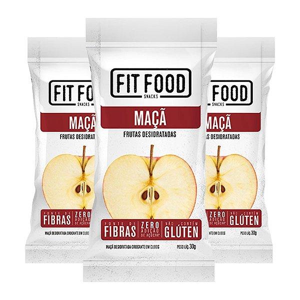 Kit 3 Maçã Snack Desidratada Fit Food 30g