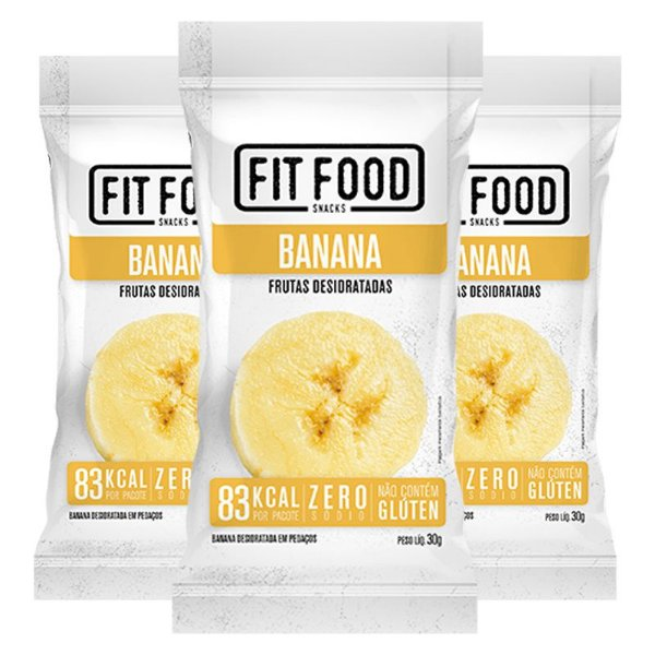 Kit 3 Banana Snack Desidratada Fit Food 30g