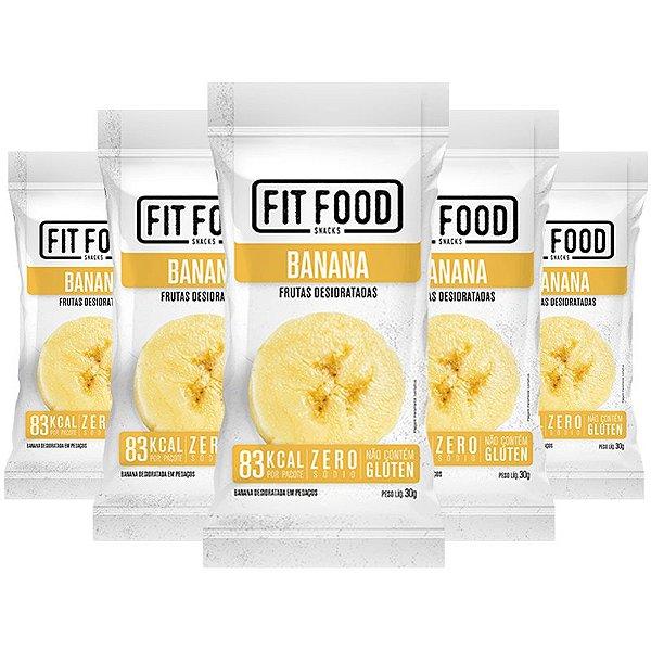 Kit 5 Banana Snack Desidratada Fit Food 30g