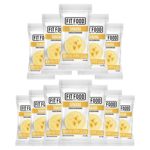 Kit 12 Banana Snack Desidratada Fit Food 30g