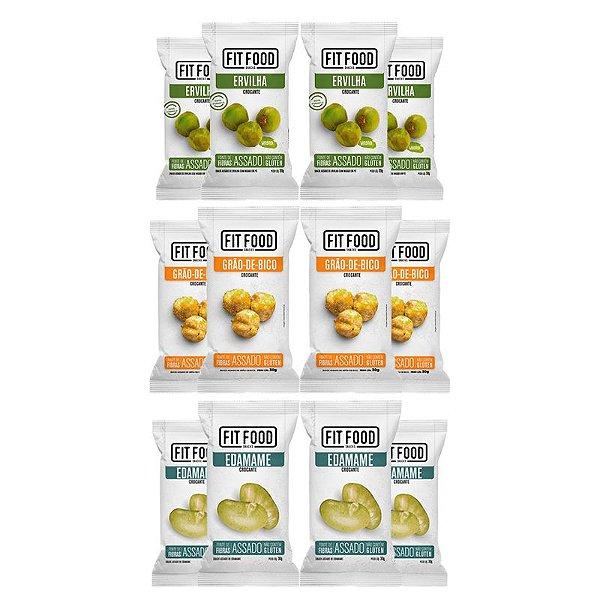 Kit 12 Snack Diversos Wasabi + Edamame + Grão de Bico FIT FOOD 30g
