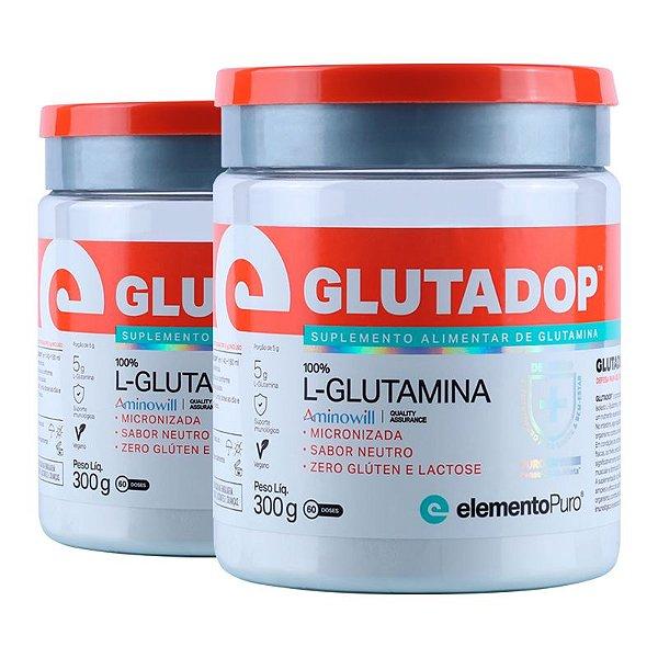 Kit 2 Glutadop L-Glutamina Elemento Puro 300g