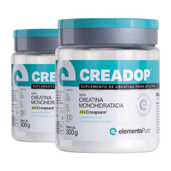 Kit 2 Creadop Creapuro Creatina Monohidratada Elemento Puro 300g