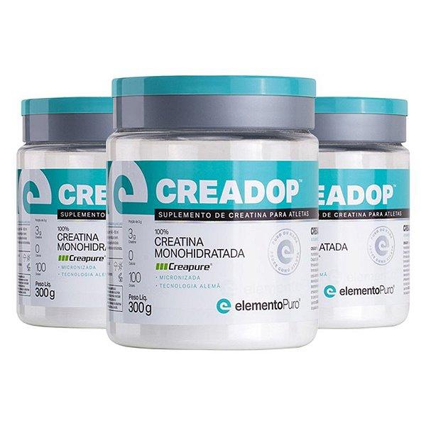 Kit 3 Creadop Creapuro Creatina Monohidratada Elemento Puro 300g