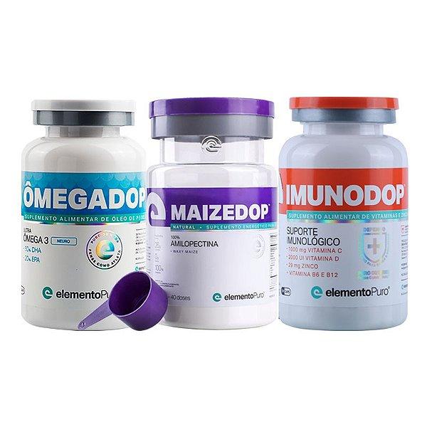 Kit Maizedop 1200g + Imunodop 120 Cápsulas + Ômegadop Neuro 60 Cápsulas Elemento Puro