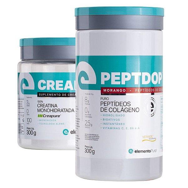 Kit Peptdop Colágeno Hidrolisado 300g + Creadop Creapuro Creatina Monohidratada Elemento Puro 300g