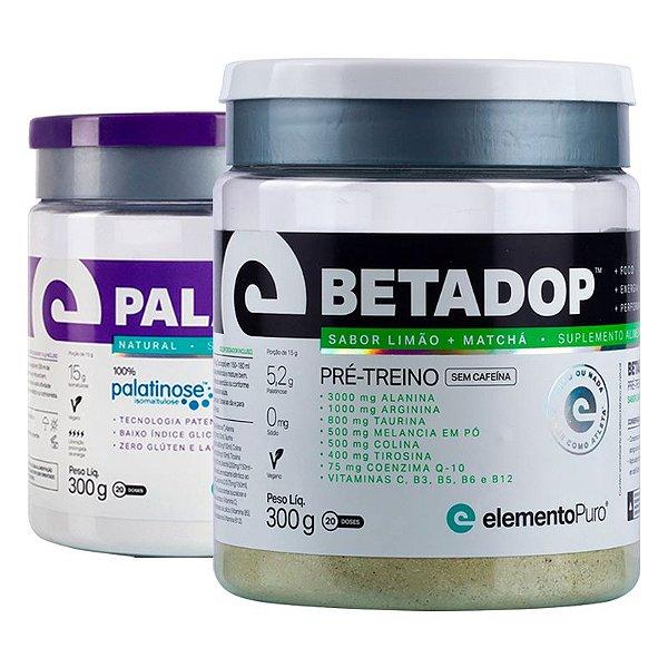 Kit Betadop Pré Treino Sem Cafeina 300g + Paladop Palatinose Natural Elemento Puro 300g