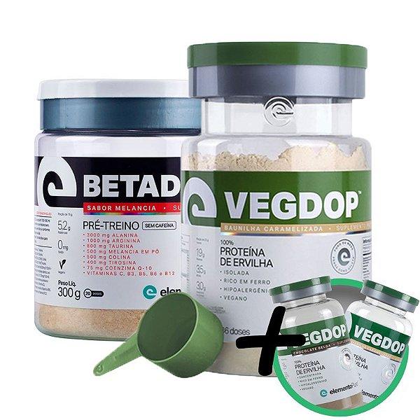 Kit Vegdop Proteina de Ervilha 900g + Betadop Pré Treino Sem Cafeina Elemento Puro 300g + Brinde