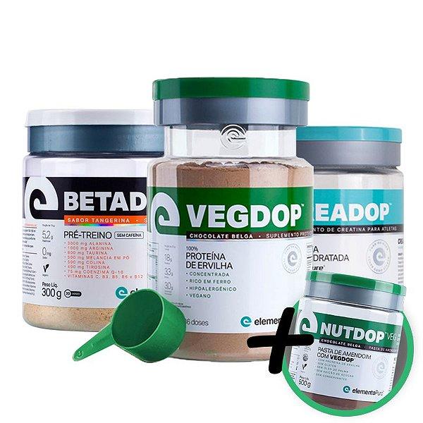 Kit Vegdop Proteina de Ervilha 900g + Betadop Pré Treino Sem Cafeina 300g + Creadop Elemento Puro 300g + Brinde