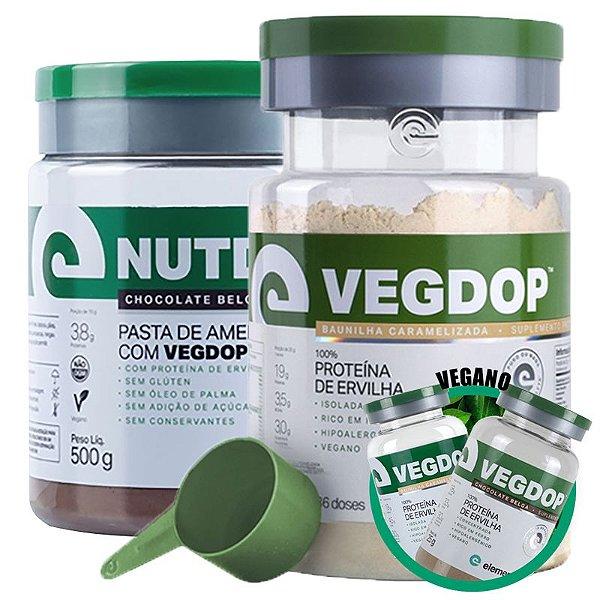 Kit Vegdop Proteina de Ervilha 900g + Nutdop Pasta de Amendoim Vegana Elemento Puro 500g + Brinde