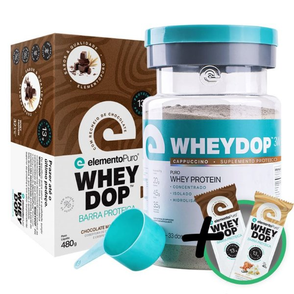 Kit Wheydop 3W Whey Protein 900g + Barra Proteica Wheydop Elemento Puro Chocolate Maltado 480g + Bônus
