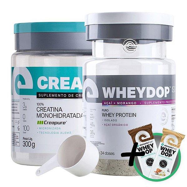 Kit Wheydop ISO Whey Protein 900g + Creadop Creapuro Creatina Monohidratada Elemento Puro 300g + Bônus