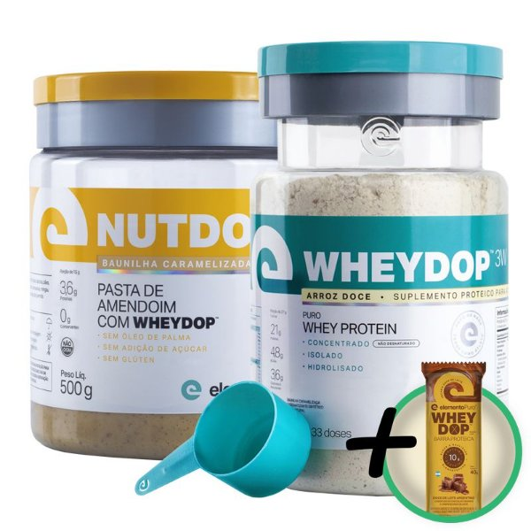 Kit Wheydop 3W Whey Protein 900g + Nutdop Pasta de Amendoim Elemento Puro Baunilha Caramelizada 500g + Bônus
