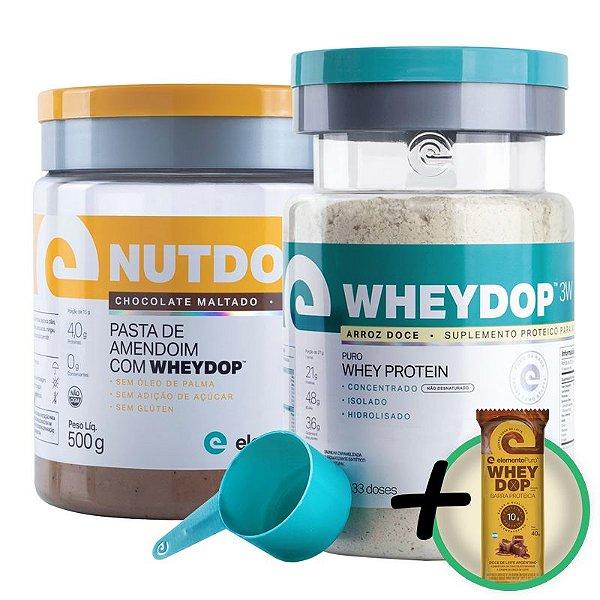 Kit Wheydop 3W Whey Protein 900g + Nutdop Pasta de Amendoim Elemento Puro Chocolate Maltado 500g + Bônus