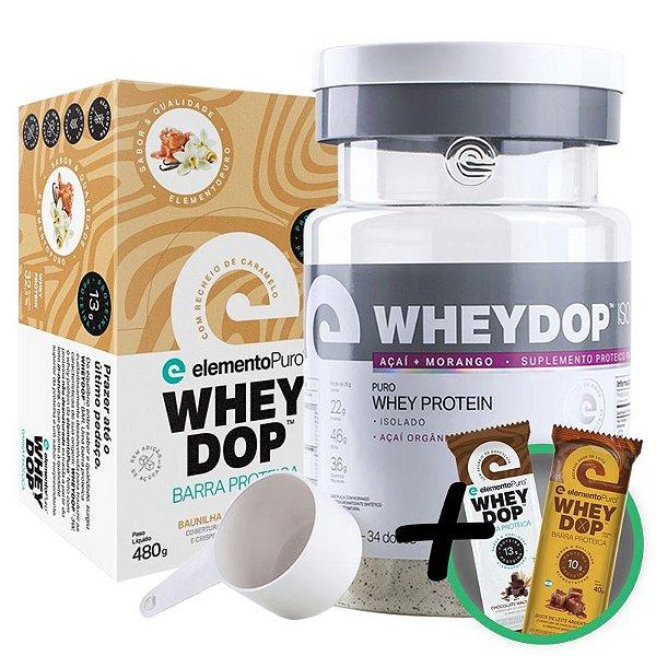Kit Wheydop ISO Whey Protein 900g + Barra Proteica Wheydop Elemento Puro Baunilha Caramelizada 480g + Bônus