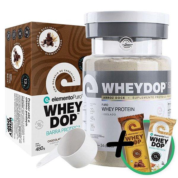 Kit Wheydop ISO Whey Protein 900g + Barra Proteica Wheydop Elemento Puro Chocolate Maltado 480g + Bônus