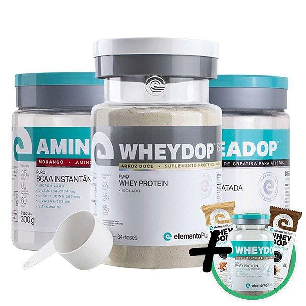 Kit Wheydop ISO Whey Protein 900g + Aminodop Bcaa Morango 300g + Creadop Creapuro Elemento Puro 300g + Bônus