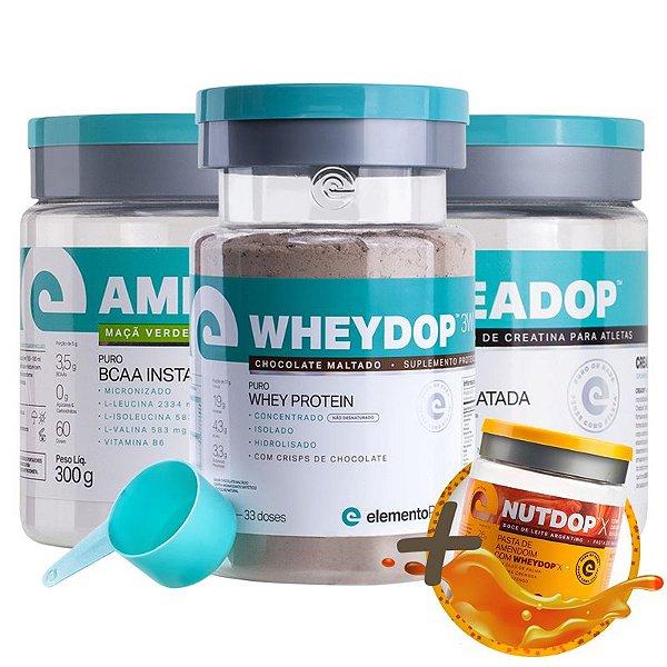 Kit Wheydop 3W Whey Protein 900g + Aminodop Bcaa Maçã Verde 300g + Creadop Creapuro Elemento Puro 300g + Bônus