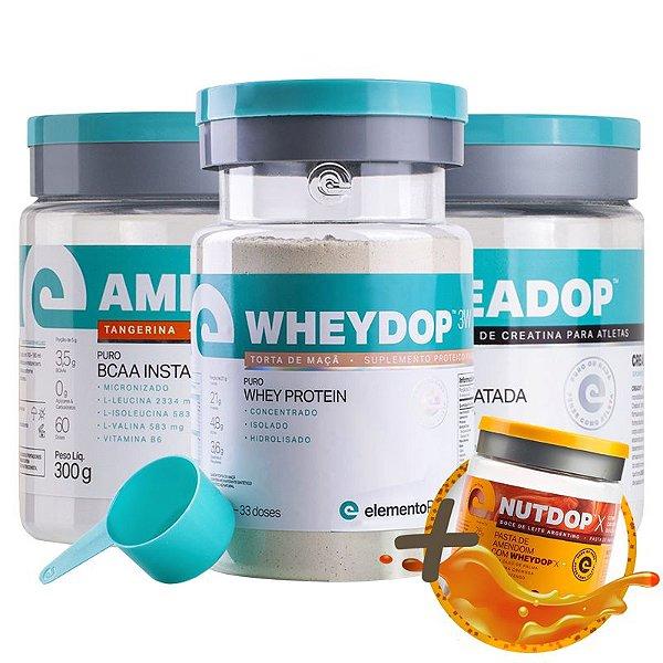 Kit Wheydop 3W Whey Protein 900g + Aminodop Bcaa Tangerina 300g + Creadop Creapuro Elemento Puro 300g + Bônus