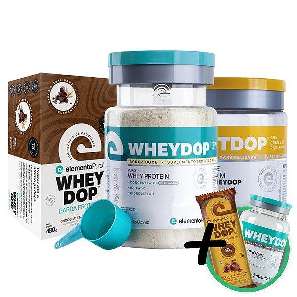 Kit Wheydop 3W Whey Protein 900g + Nutdop Pasta de Amendoim Baunilha 500g + Barra Proteica Wheydop Elemento Puro Chocolate 480g + Bônus