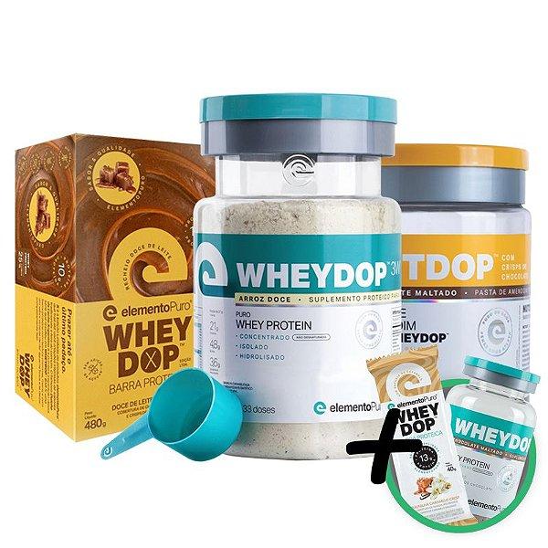 Kit Wheydop 3W Whey Protein + Nutdop Pasta de Amendoim Chocolate + Barra Proteica Wheydop Elemento Puro Doce de Leite + Bônus