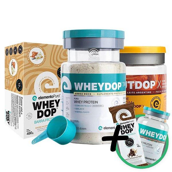 Kit Wheydop 3W Whey Protein + Nutdop Pasta de Amendoim Doce de Leite + Barra Proteica Wheydop Elemento Puro Baunilha + Bônus