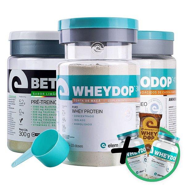 Kit Wheydop 3W Whey Protein + Aminodop Bcaa Tangerina + Betadop Pré Treino Elemento Puro Limão com Matcha + Bônus