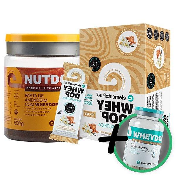 Kit Nutdop Pasta de Amendoim 500g + Barra Proteica Wheydop Elemento Puro Baunilha Caramelizada 480g + Bônus
