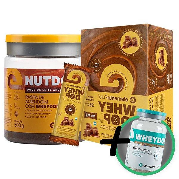 Kit Nutdop Pasta de Amendoim 500g + Barra Proteica Wheydop Elemento Puro Doce de Leite 480g + Bônus