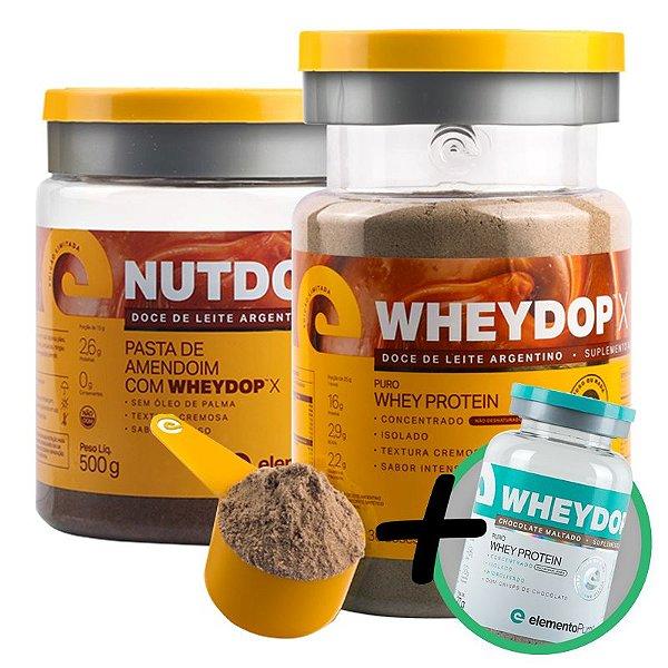 Kit Wheydop X Whey Protein Doce de Leite Argentino 900g + Nutdop X Pasta de Amendoim Elemento Puro 500g  + Bônus