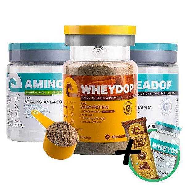Kit Wheydop X Whey Protein 900g + Aminodop Bcaa 300g + Creadop Creapuro Elemento Puro 300g + Bônus
